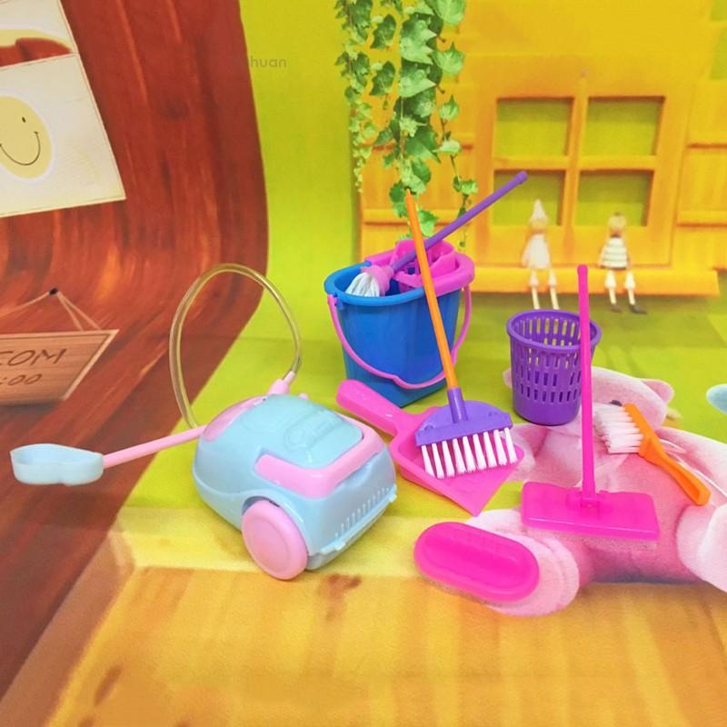 💗Yuhuan💗9pcs Children Kids Cleaning Sweeping Mop Broom Brush Dustpan Toy  Playset