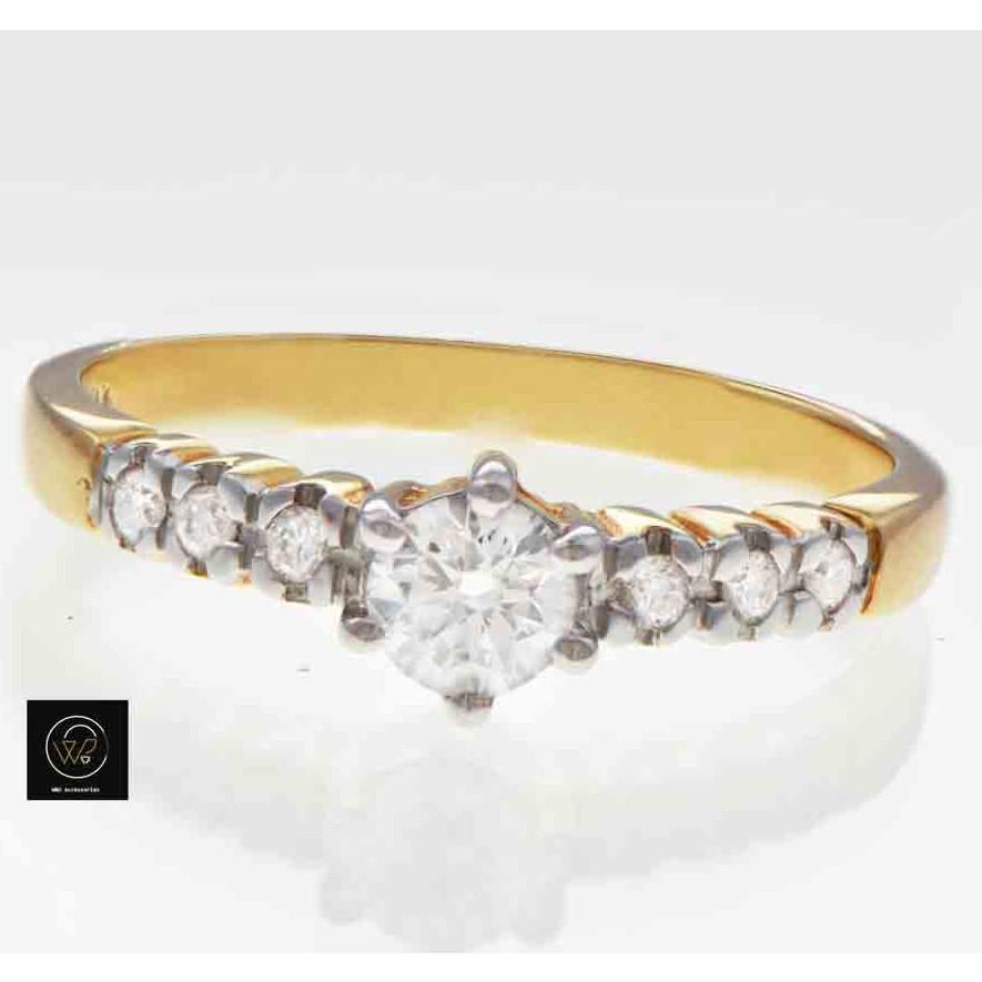แหวนเพชรแถว ทองแท้ 3.10 กรัม เพชร 0.36 กะรัต