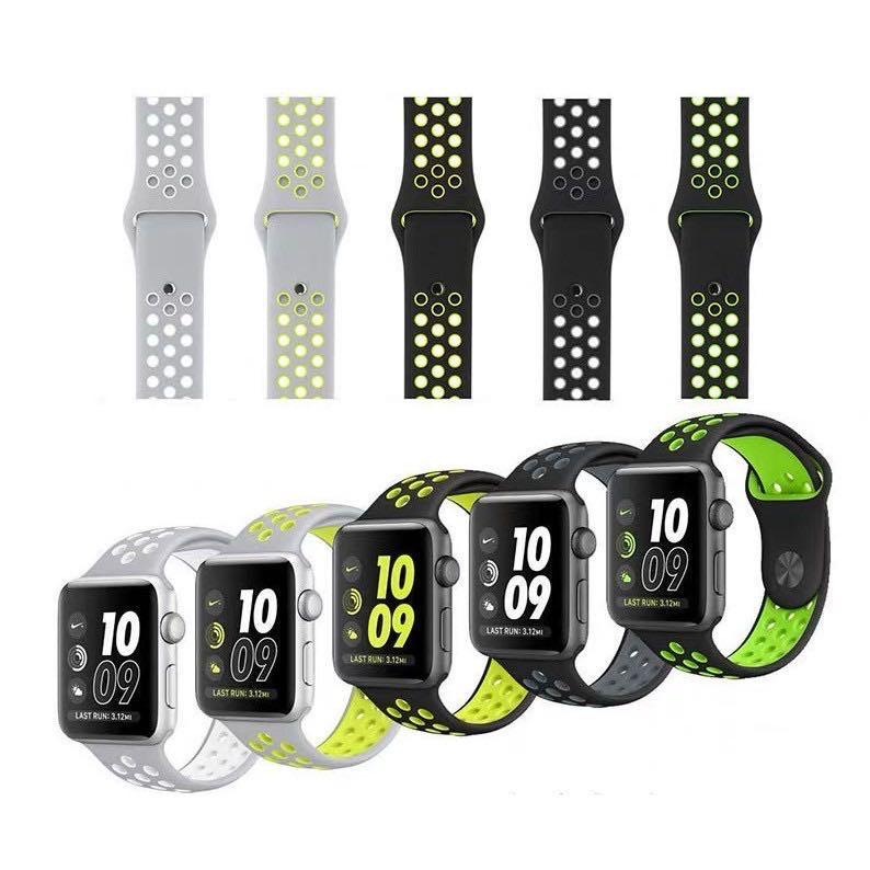 สายซิลิโคนสีล้วน (สาย nike) Apple Watch Nike Sport Band สำหรับ applewatch Series 6 5 4 3 ตัวเรื่อน 38mm 40mm 42mm 44mm