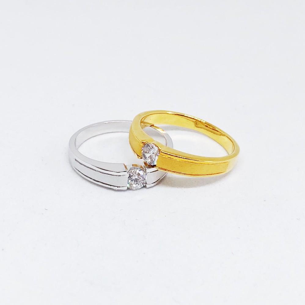 แหวนเพชร cz เล็ก ชุบทองไมครอน และซาติน ทองคำขาว ราคาพิเศษ