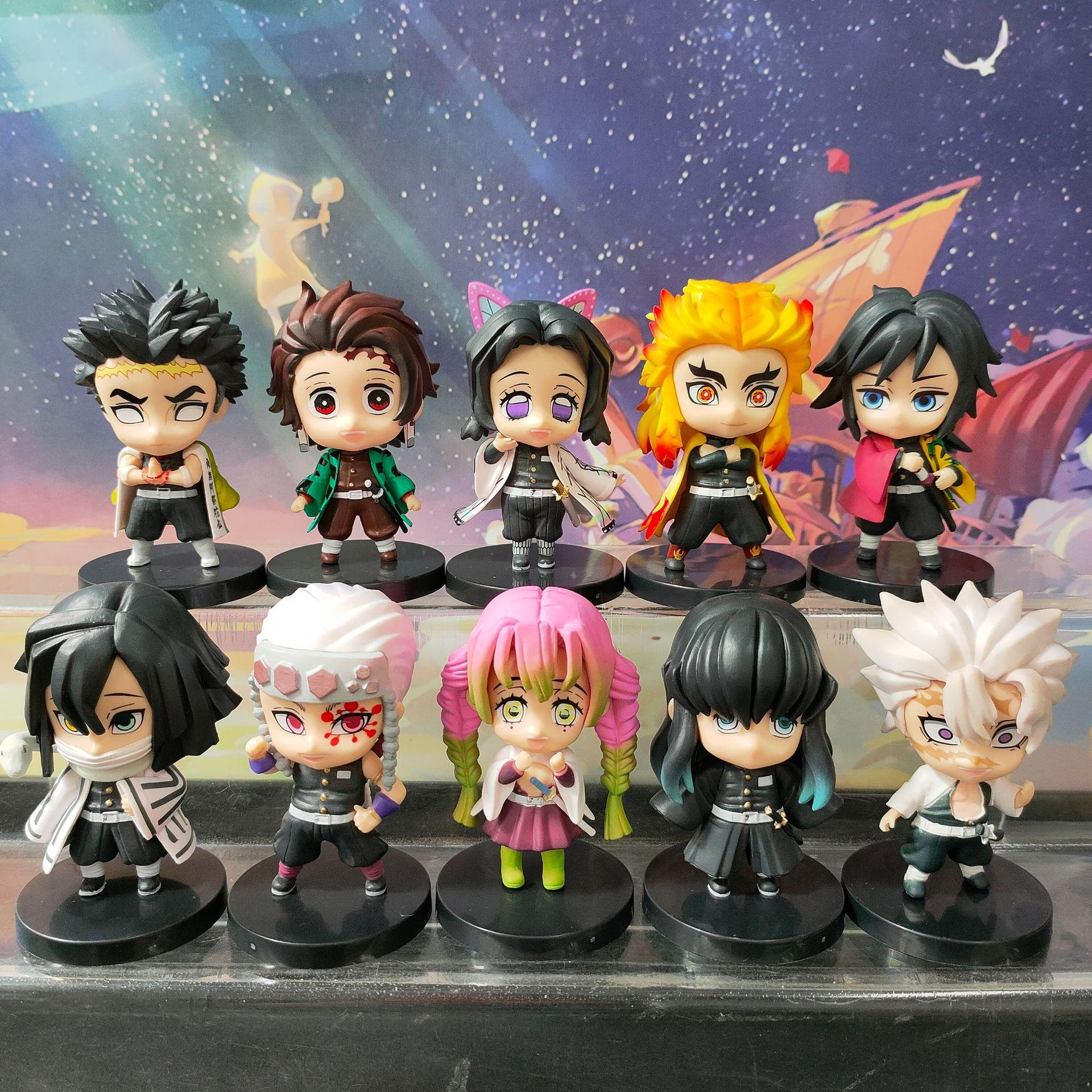 แพงกว่า แต่ดีกว่า10pcs/set Demon Slayer action figure Kamado Tanjirou/Kochou Shinobu/ Kamado NezukoFLB s388