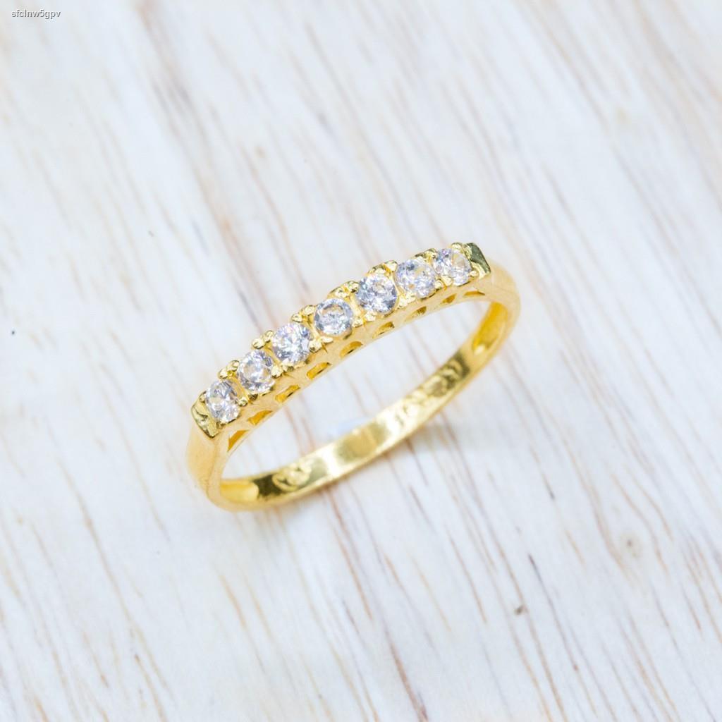 ราคาต่ำสุด✘⭐️ แหวนทองแท้ประดับเพชร CZ  น้ำหนักครึ่งสลึง