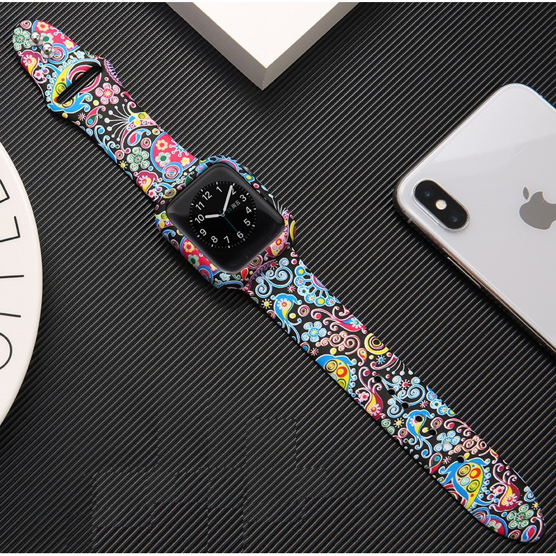 Apple Watch Strap + Case i watch strap Floral Printed Silicone Watchband Apple watch series 6 5 4 3 2 1,  Apple Watch SE Case Bracelet size 38mm 40mm 42mm 44mm