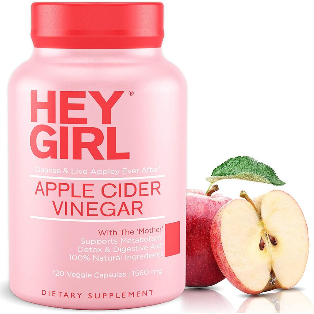 🇺🇸 Hey Girl Apple Cider Vinegar 120 Capsules - Detox, เร่งการเผาผลาญ ทำความสะอาดระบบทางเดินอาหาร
