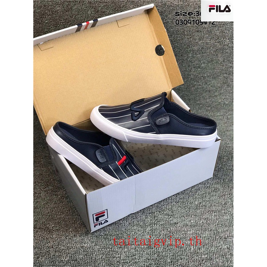 100%ของแท้  FILA รองเท้าผู้ชายและผู้หญิง รองเท้าลำลอง รองเท้าชายหาด รองเท้าแตะครึ่ง รองเท้าระบายอากาศ แฟชั่น