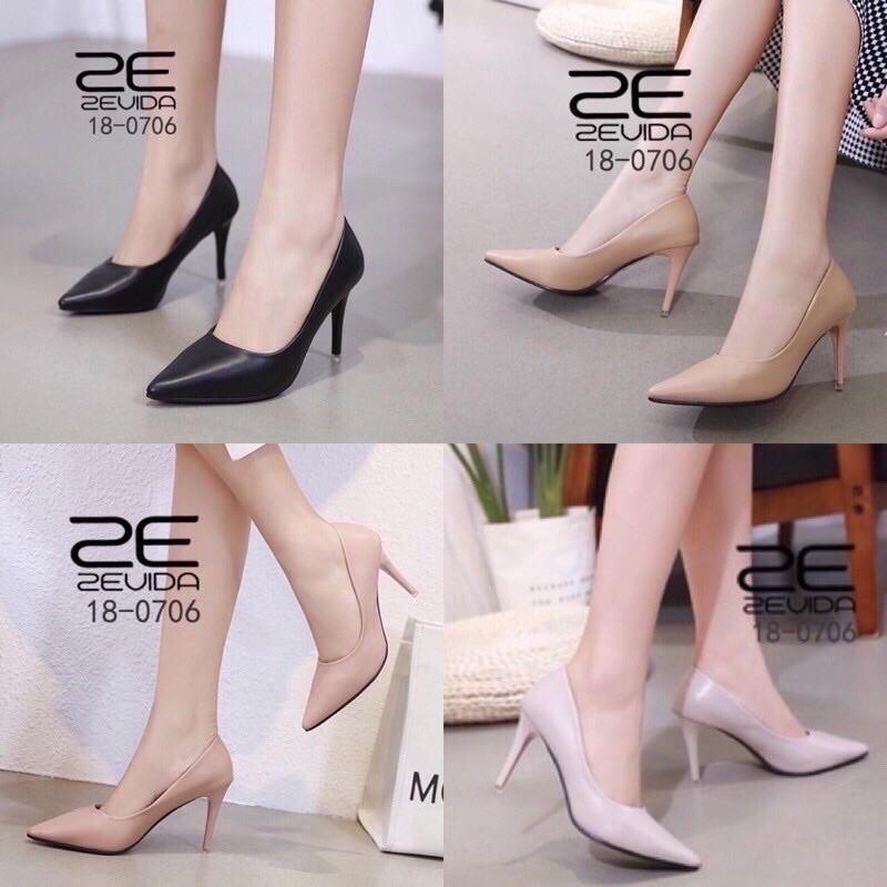 รองเท้าผู้หญิง รองเท้าคัชชูหัวแหลมส้นสูง Zevida รุ่น 18-0706