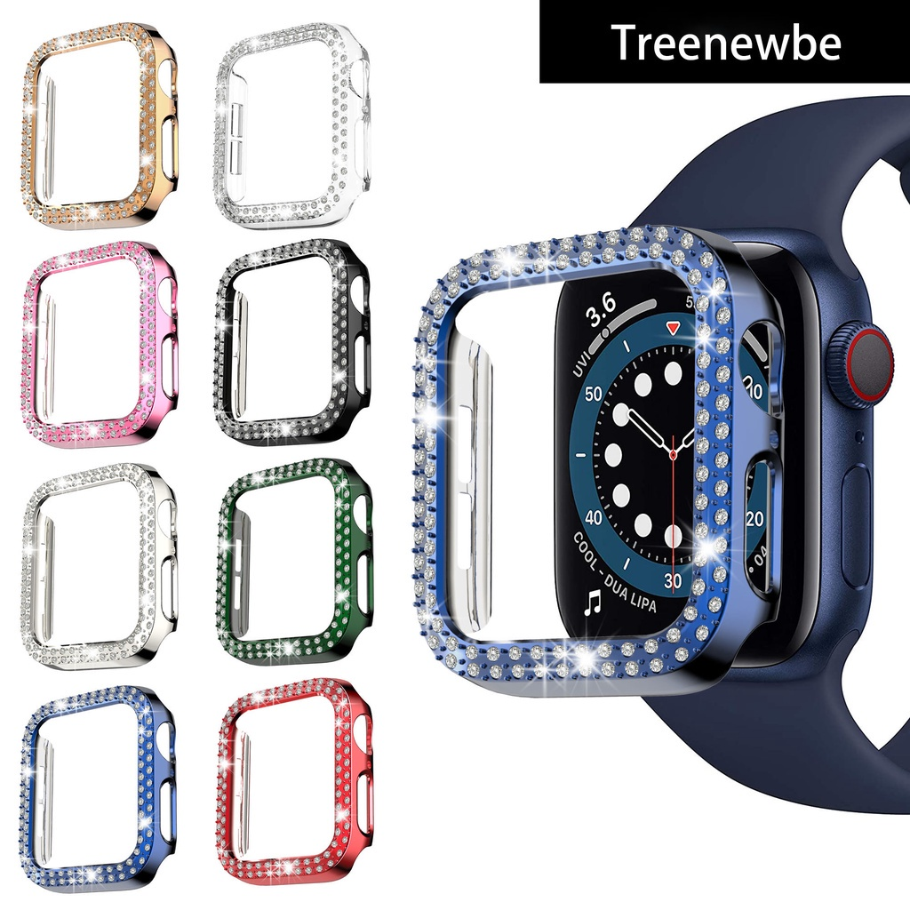 Double Row Diamond Bumper Protective Case for Apple Watch Cover Series 6 SE 5 4 3 21 iwatch 38MM 42MM 40MM 44MM Accessories