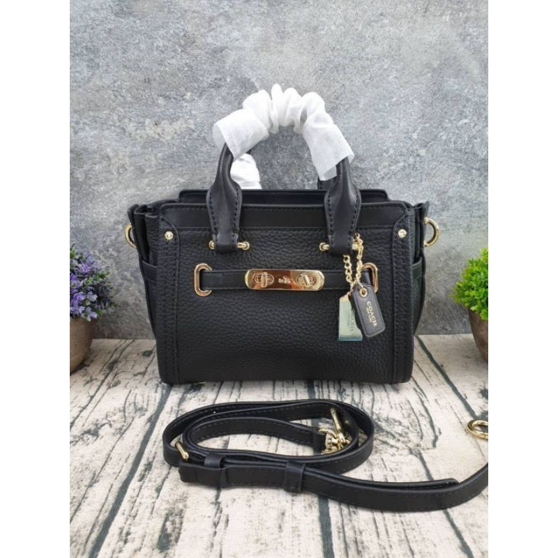 🇺🇸🇺🇸COACH SWAGGER 21 IN PEBBLE LEATHER BAG(COACH 36235)🇺🇸🇺🇸 #Gs36235◉COLOR ::: Black ◉SIZE ::: ยาว 7.75 x สูง