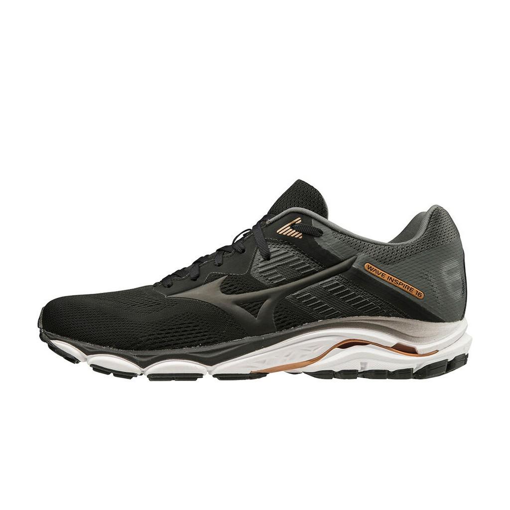 แท้จริง mizuno running wave inspire 16 -2e- black/dark shadow รองเท้าวิ่ง ออกกำลังกาย มิซูโน่ แท้ หน้ากว้าง