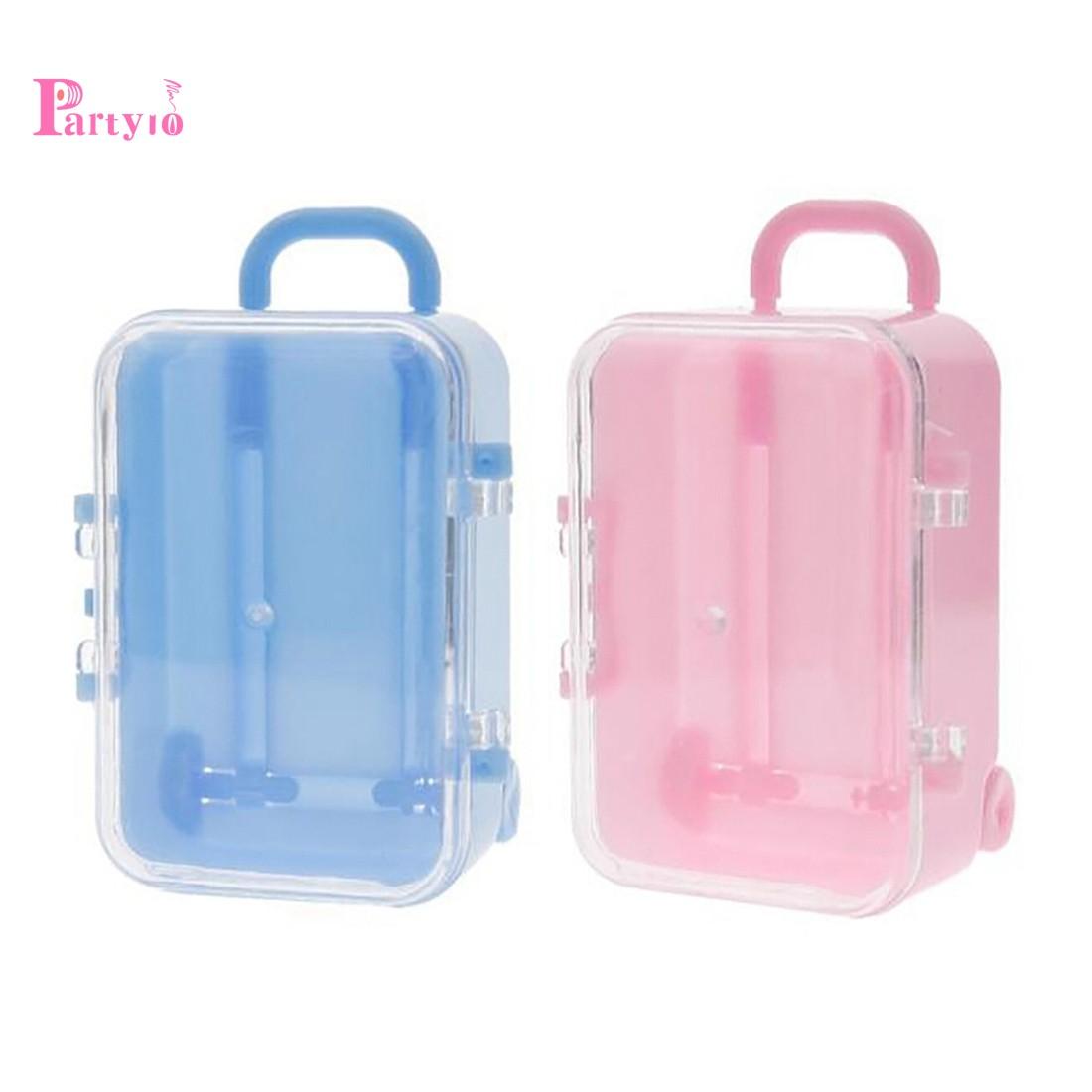 กระเป๋าเดินทางล้อลากขนาดเล็กสีฟ้าและชมพู 2 ชิ้น