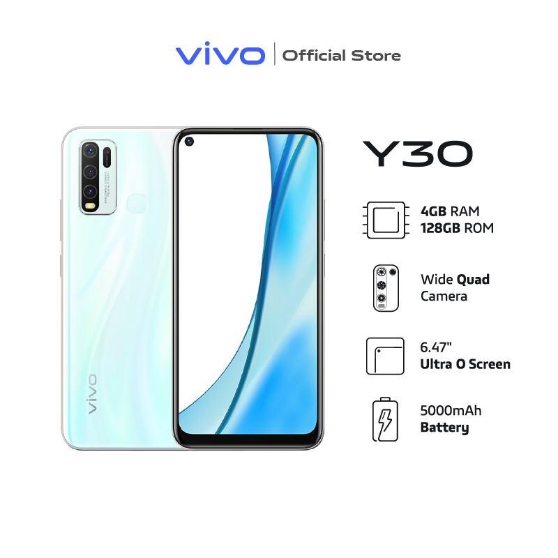 "Vivo Y30 4+128GB วีโว่ โทรศัพท์มือถือ สมาร์ทโฟน จอ 6.47"" ถนอมสายตา AI Quad Camera แบตเตอรี่ 5,000mAh"