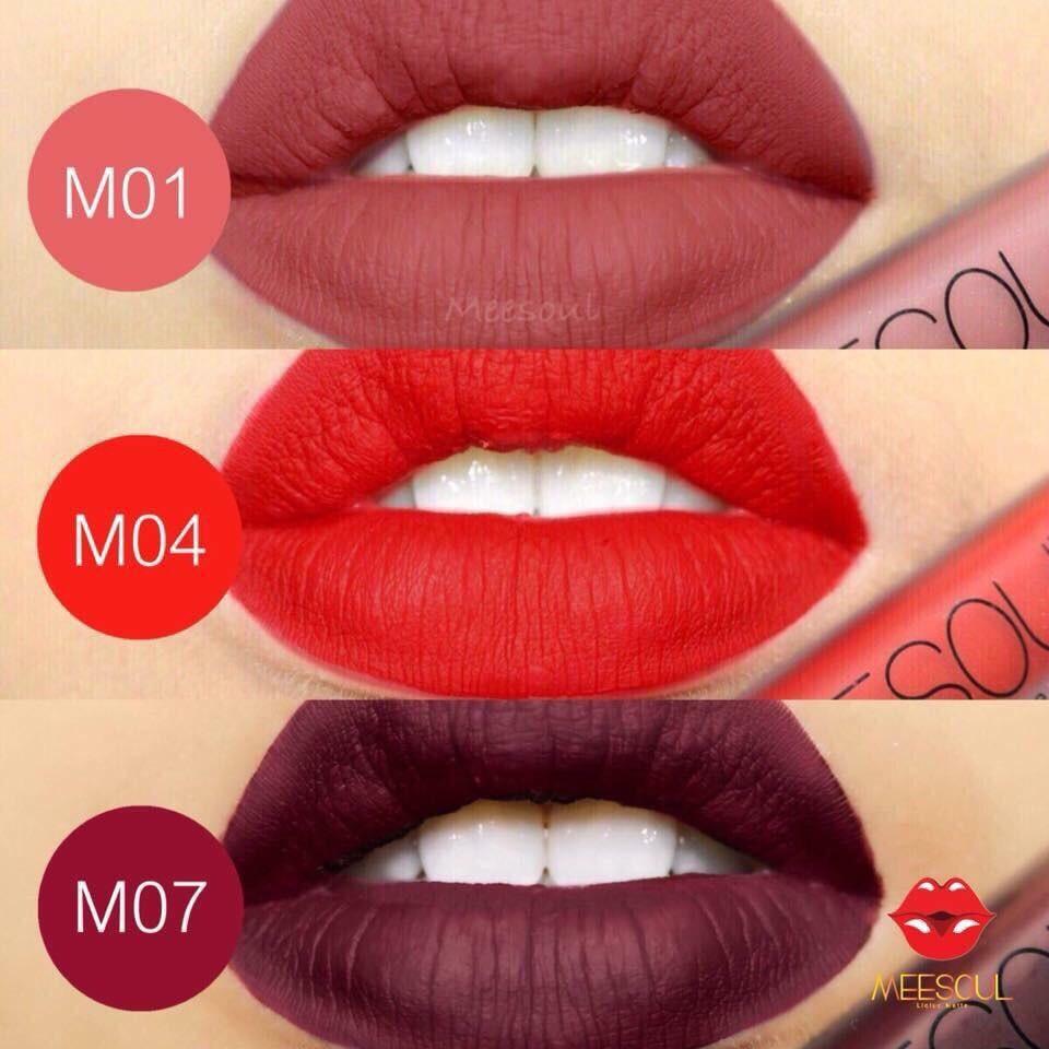 สุดฮิต สีแดงอมส้ม Korea Lip M01 M04 สีแดงสด ลิปแมท M07 สีแดงอมม่วง Meesoul