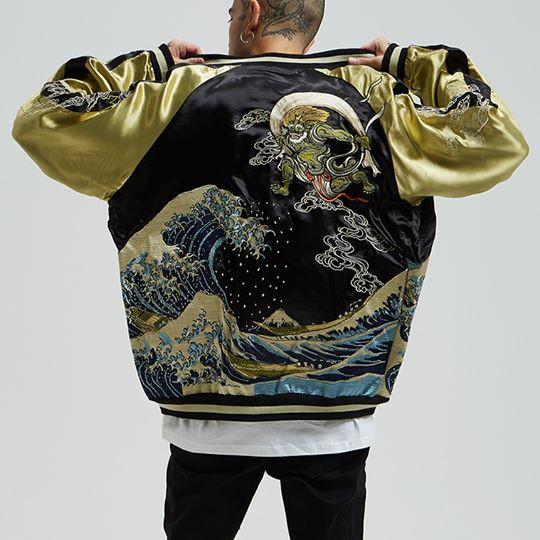 SUKAJAN พรีเมียมเกรด Japanese Souvenir Jacket  แจ็คเกตซูกาจันลาย  The Great Wave  under Fujin Rijin