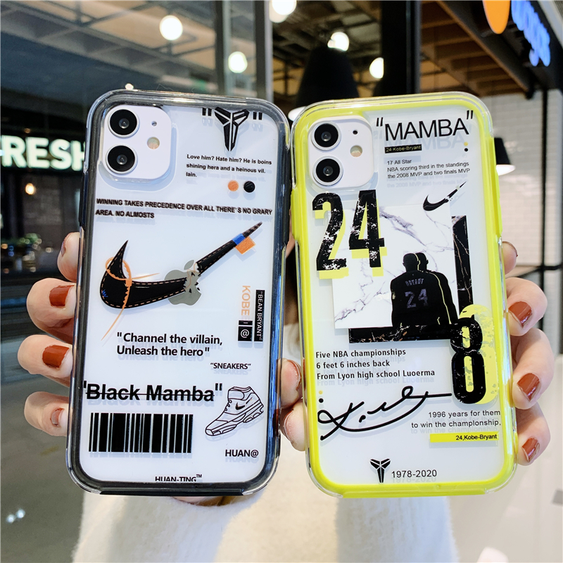 [HOT] ! Tide brand Nike broken hook Kobe 24th sneakers two-in-one detachable two-piece Apple mobile phone case IPhone 11/11 Pro 11 Pro Max X XR XS Max 6s 7 8 Plus Anti-skid and anti-fall mobile phone case