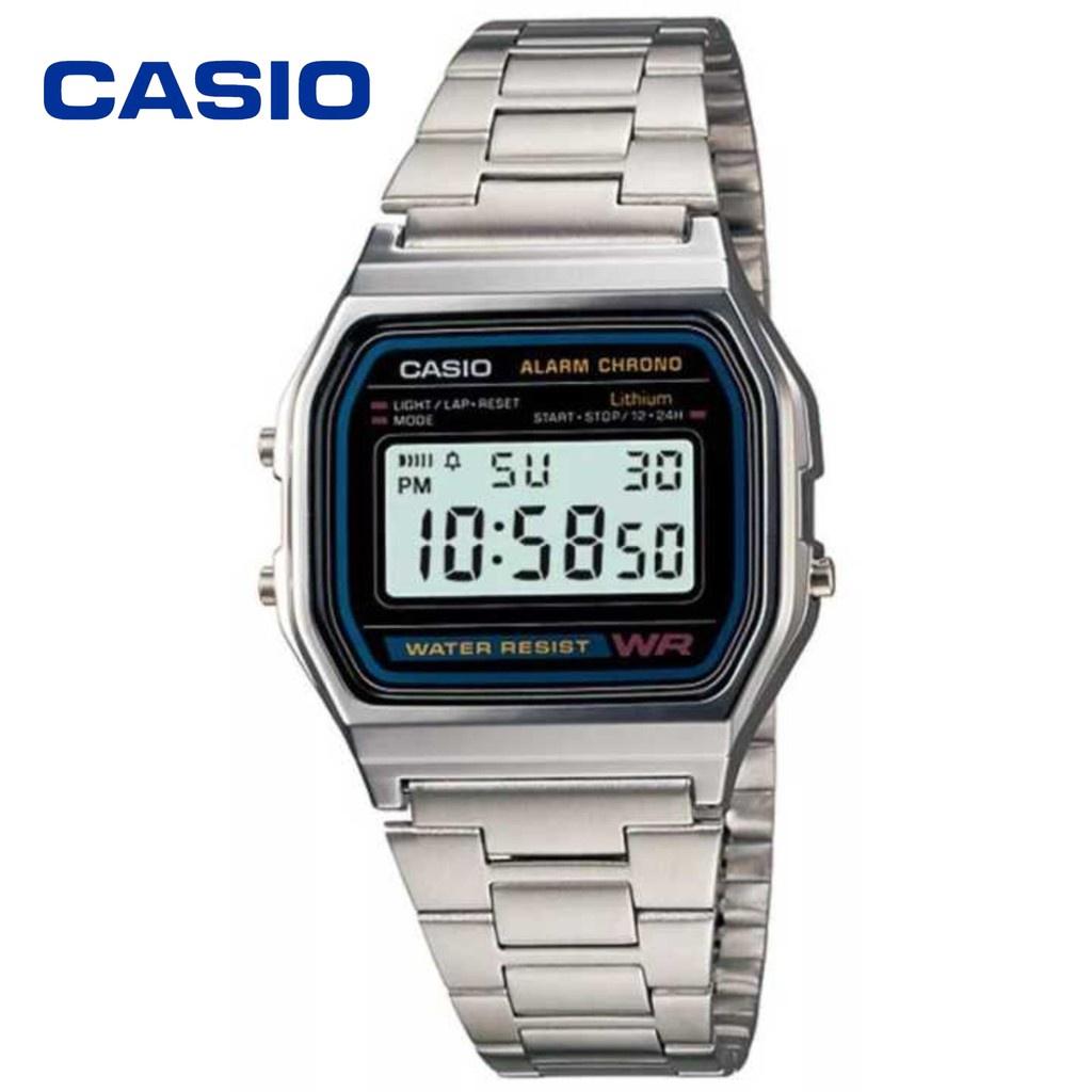 หน้ากากแว่นตา Casio นาฬิกาข้อมือผู้ชาย สายสแตนเลส รุ่น A158WA-1DF - สีเงิน
