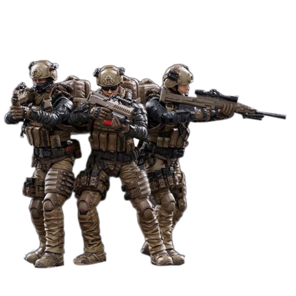 ชีวิตทางทะเล3cs/set 3.75 Inches 1:18 Realistic Removable Action Figure Soldier Model Kits Collection  LA Marine Cors Sol