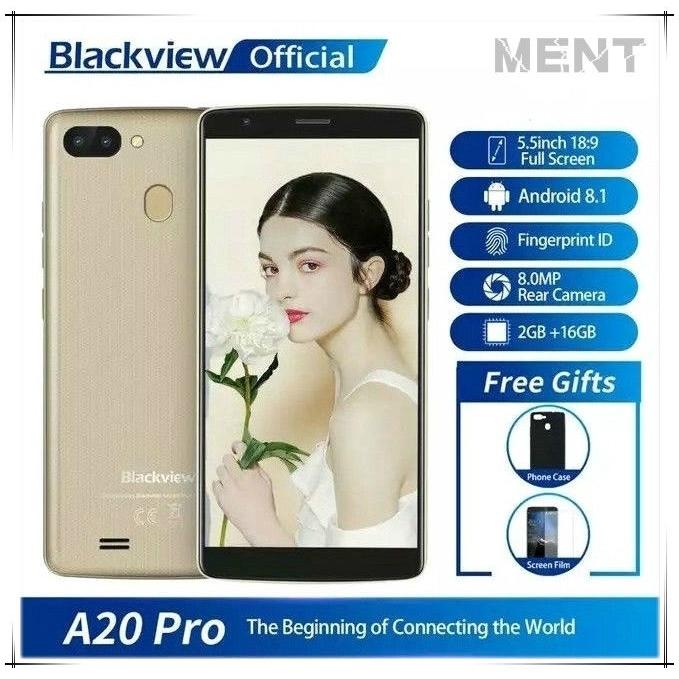 Android 8.1  Blackview A20 Pro สมาร์ทโฟน 2GB + 16GB Quad Core 5.5 นิ้ว 18: 9 4G โทรศัพท์มือถือ