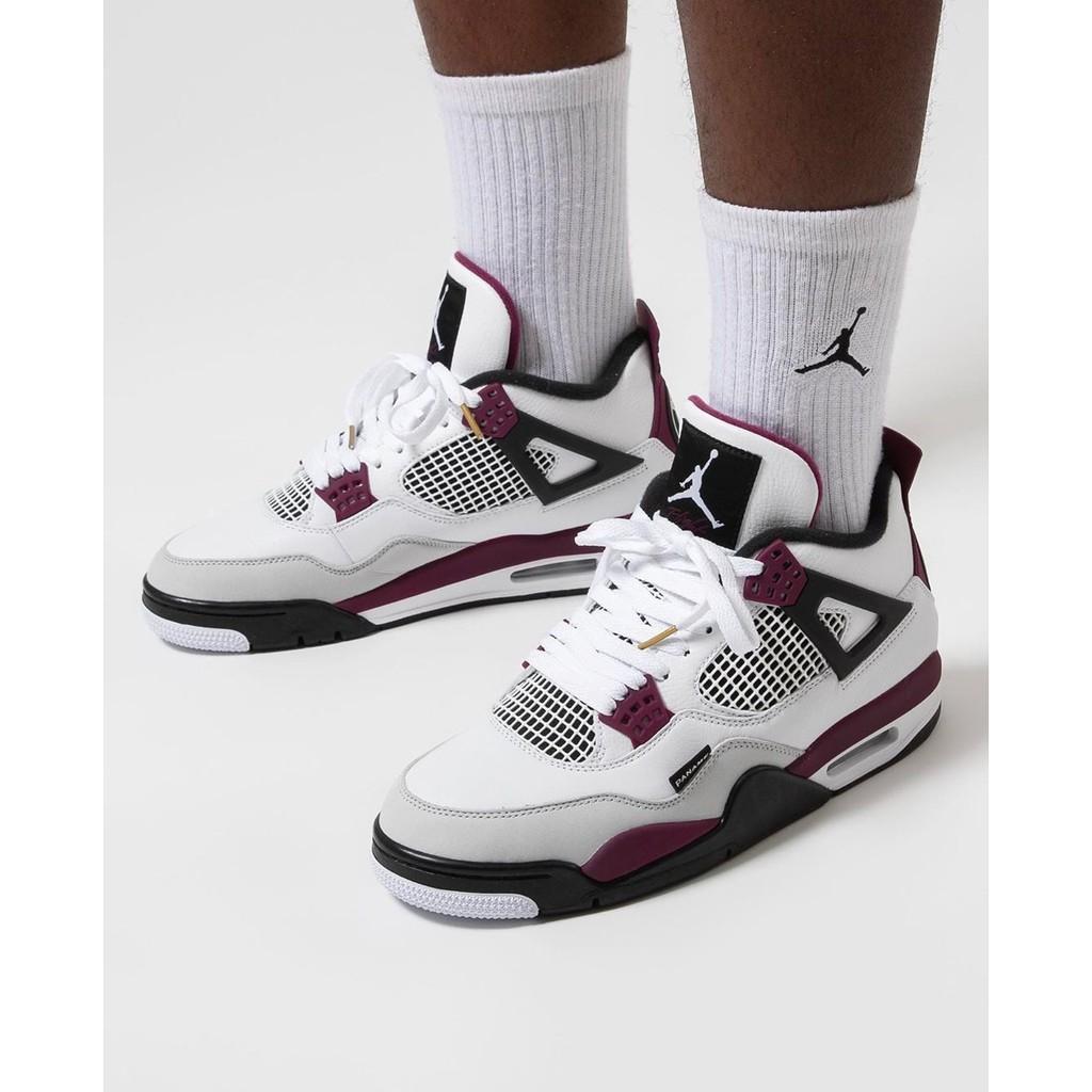 ข้อเสนอพิเศษ ✸✒✆Air Jordan 4 Paris Bordeaux Grand AJ4 White Purple PSG Men s Basketball Shoes CZ5624-100