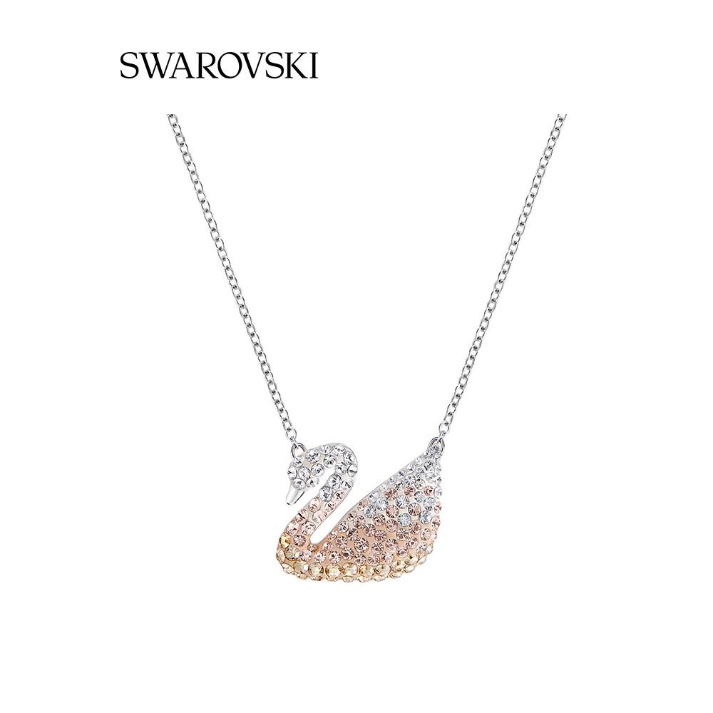 Swarovski ไล่ระดับสีหงส์(ขนาดใหญ่) ICONIC SWAN สร้อยคอผู้หญิงคลาสสิกของขวัญทานาบาตะ 4wEx