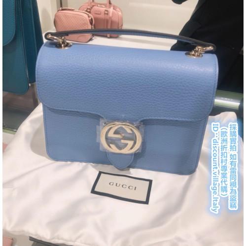 (จัดซื้อมืออาชีพจากหมู่บ้านลดราคาในยุโรป) กระเป๋าออร์แกน GUCCI 510304 หนังแท้สีฟ้าอ่อนทองคู่ G สองชั้นพลิกหัวเข็มขัดสายค