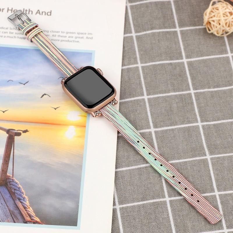 applewatch สายบังคับแอปเปิ้ลแอปเปิ้ลดูนาฬิกาapple watch series1/2/3/4กับตัวแทนiwatchสายแฟชั่นผ้าบางบุคลิกภาพความคิดสร้าง