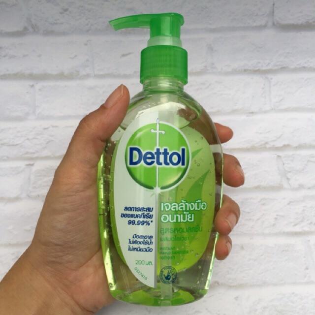 เดทตอล เจลล้างมือ Dettol แอลกอฮอล์ 70% สูตรหอมสดชื่นผสมอโลเวล่า 200มล 50มล ลดการสะสมของแบคทีเรีย 99.99%