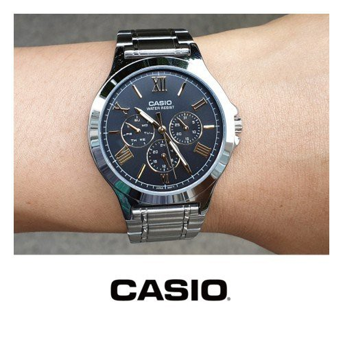 นาฬิกาคาสิโอของแท้ Casio Standard นาฬิกาข้อมือผู้ชาย สายสแตนเลส รุ่น MTP-V300D