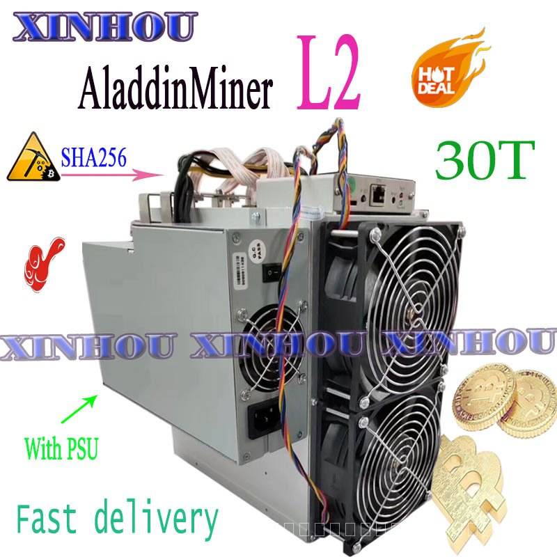 BTC BCH Bitcoin Miner AladdinMiner L2 30T SHA256 Asic MinerกับPSUทางเศรษฐกิจมากกว่าA1 M20S M21S T3 T2T antminer S9 S17 T