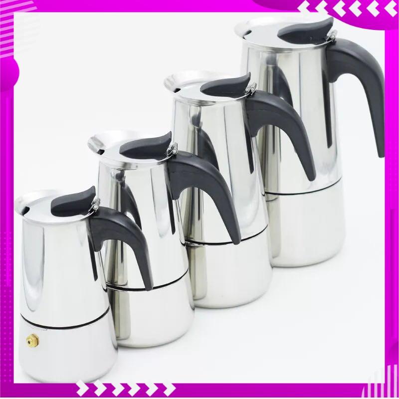 คุณภาพดี กาต้มกาแฟสดแบบพกพาสแตนเลส ขนาด 6 ถ้วยเล็ก 300 มล. หม้อต้มกาแฟแบบแรงดัน เครื่องทำกาแฟสด 300ml