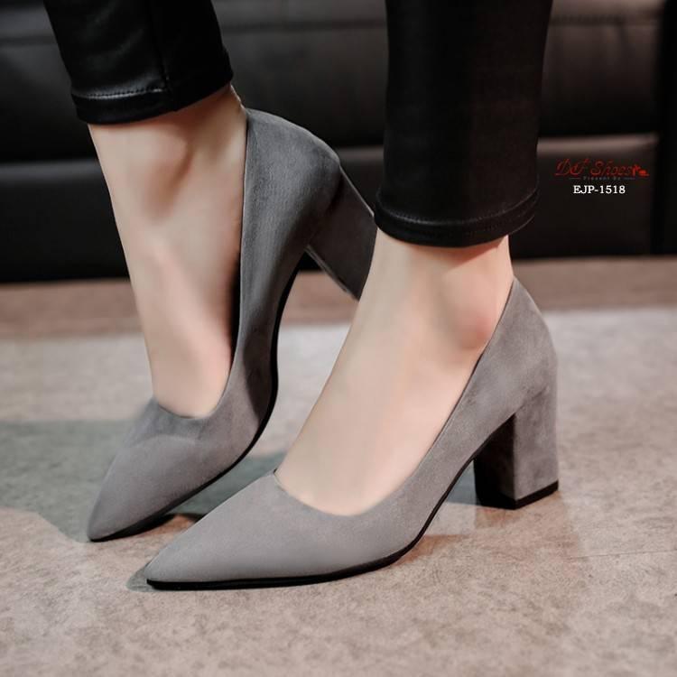 รองเท้าแตะแฟชั่นผู้หญิง┇☃✨✨ คัชชูหัวแหลมส้นสูงผู้หญิง รองเท้าส้นสูงแฟชั่นขายดี รองเท้าคัชชูส้นสูง 3 นิ้ว สีเทา / สีดำ