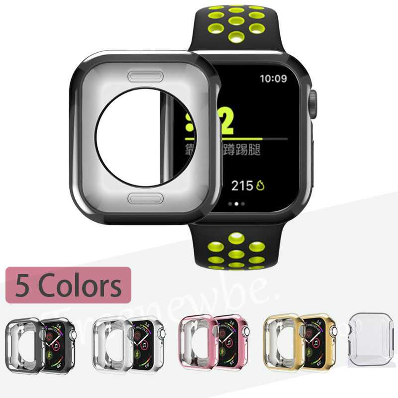 Silicon Soft Full Protection Case For Apple Smart Watch 44mm 42mm 40mm 38mm Ultra-thin Clear Plating Frame Shell For Iwatch Series se 6 5 4 3 2 TPU Cover