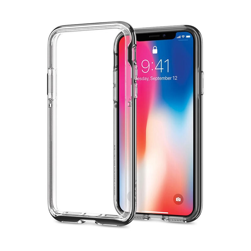 SPIGEN Case Apple iPhone X Case Neo Hybrid EX : Chrome Grey