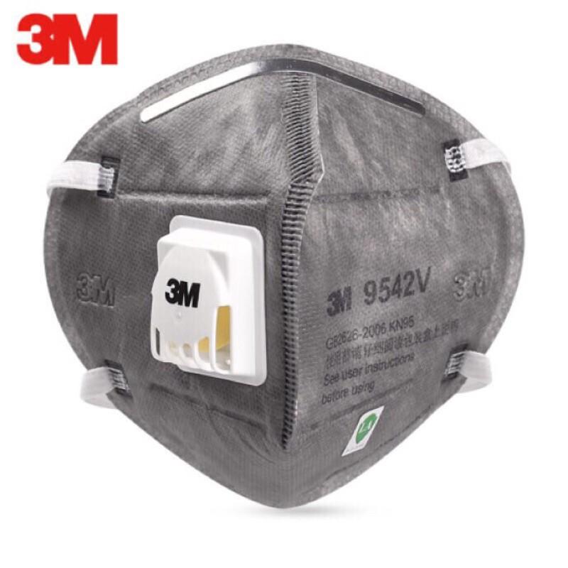 หน้ากากกรองฝุ่น [1ชิ้น]  3M 9542v [คล้องหัว] 3M 9542V N95 Anti-Virus Bacterial Medical Mask with Valve Mask