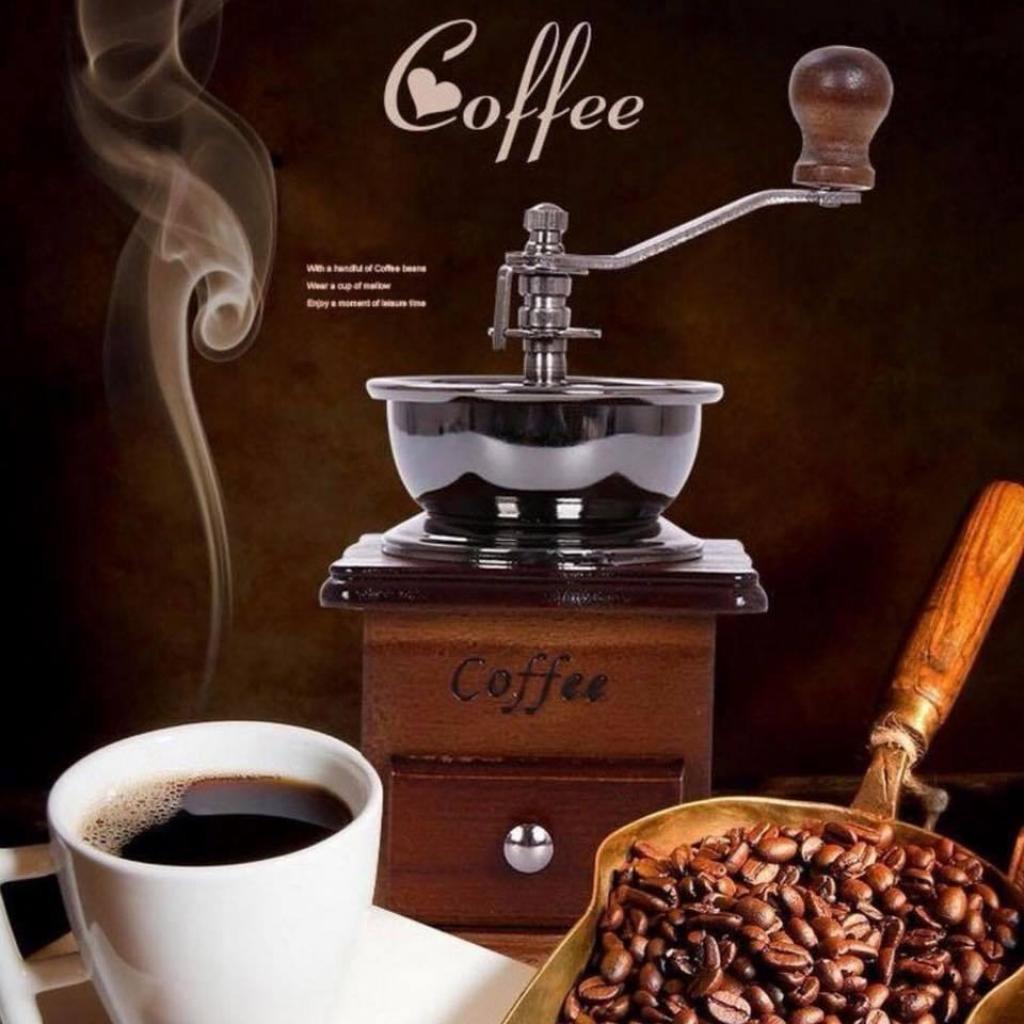 เครื่องบดกาแฟแบบมือหมุนสไตล์วินเทจบดเมล็ดกาแฟ แบบมือหมุน เหมาะกับการทำกาแฟสดได้ทุกแบบ เพียงใส่เมล็ดกาแฟที่คั่วแล้ว ด้านบ