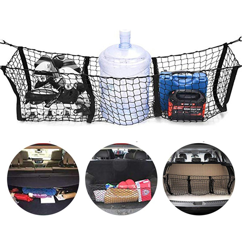 Universal Car Accessories Pickup Trucks Car Trunk Net Bag Three Grid Luggage