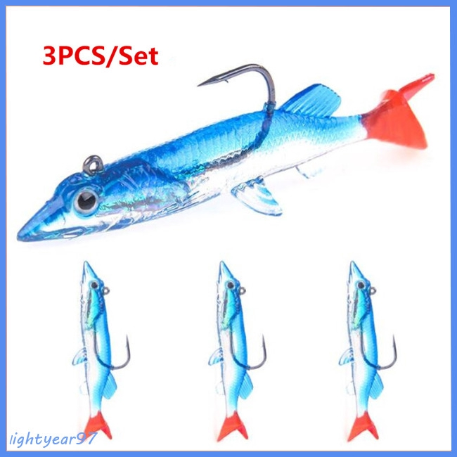 7.5cm 6.6g 3 Colors 1PCS Luminous Fishing Soft Lures Artificial Highly Simulate