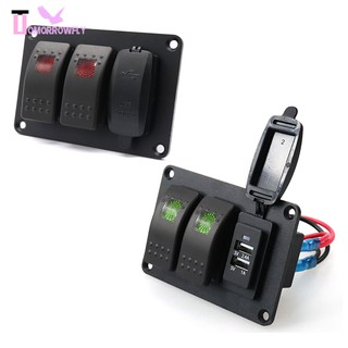 Waterproof DC 12V 24V aluminum plate and marine Marine Installation Kit  with rocker switch and power outlet