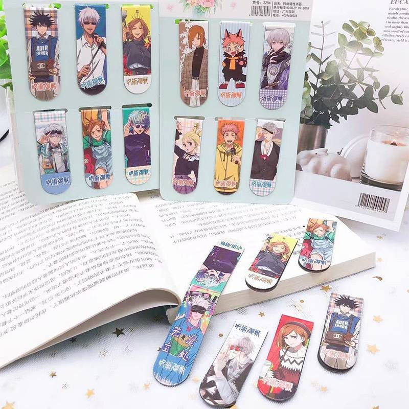 ที่คั่นหนังสือ แบบแม่เหล็ก ลายการ์ตูนน่ารัก น่าใช้มี 6Pcs/Pack Anime Jujutsu Kaisen Magnetic Bookmarks Gojou Satoru Nanami Kento Ryoumen Sukuna DIY Decoration Books mark Page Stationery Student Office Supply gift