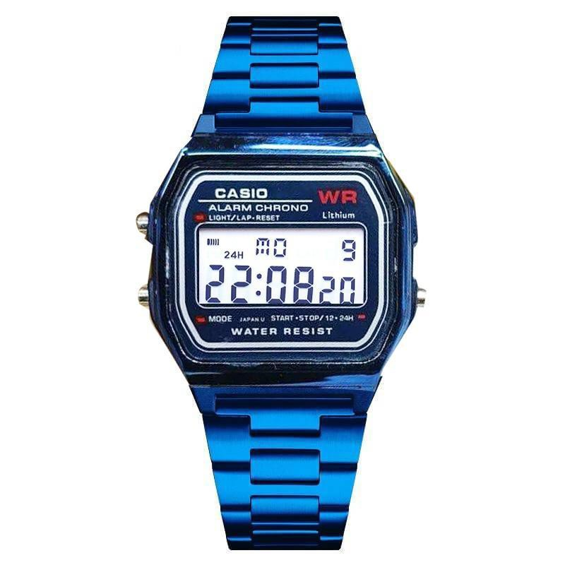 Casio นาฬิกาข้อมือ สายสแตนเลส ดีไซน์ A158WA ดูวันที่ จับเวลา ตั้งปลุก ได้ รุ่น ZD-0041