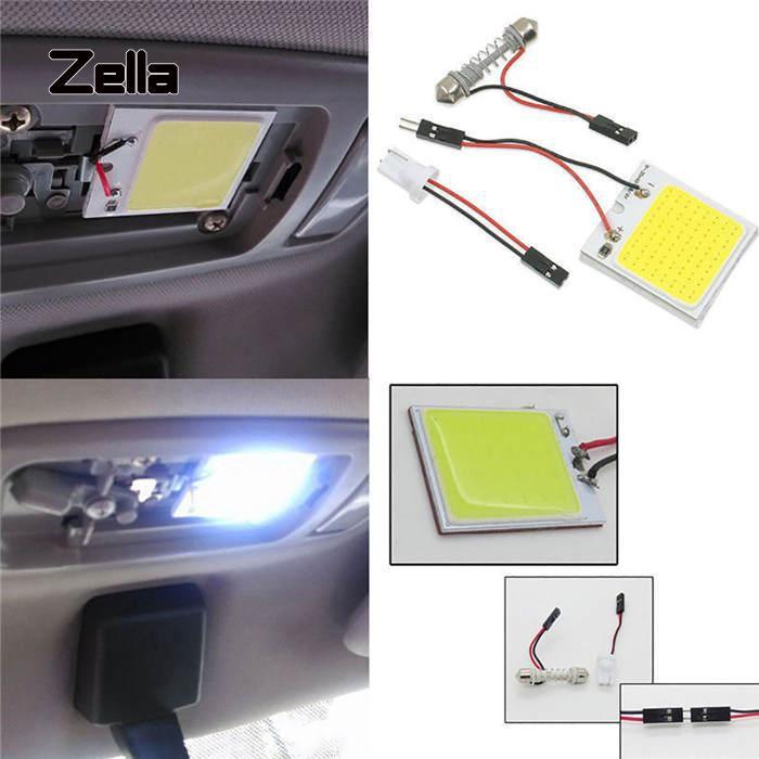 ZELLA 1Pc สีขาว 48 SMD ซัง LED T10 4W 12V แผงด้านในรถแผงหลอดไฟโดมแสง