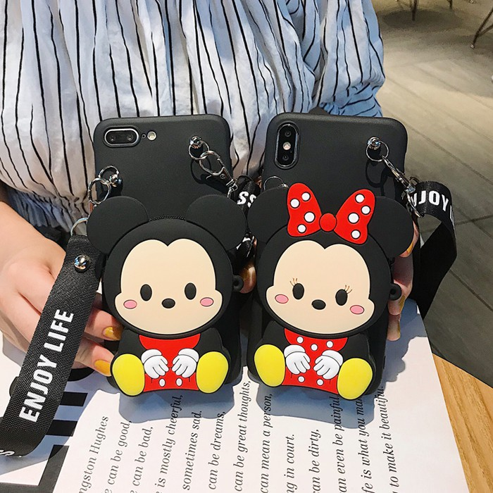❀○Samsung Galaxy A31 A01 A21S A6 A8 Plus J8 2018 A9 C9 Pro Note 20 S21 Ultra A12 A02S Case Soft with Minnie Wallet