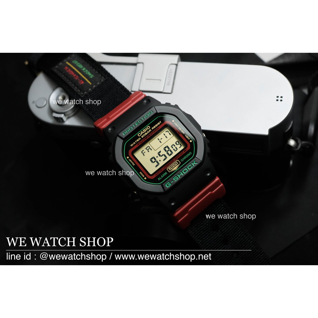G-SHOCK ของแท้ CMG รุ่น DW-5600THC-1DR สีดำ แดง สายผ้า รับประกันศูนย์ CMG