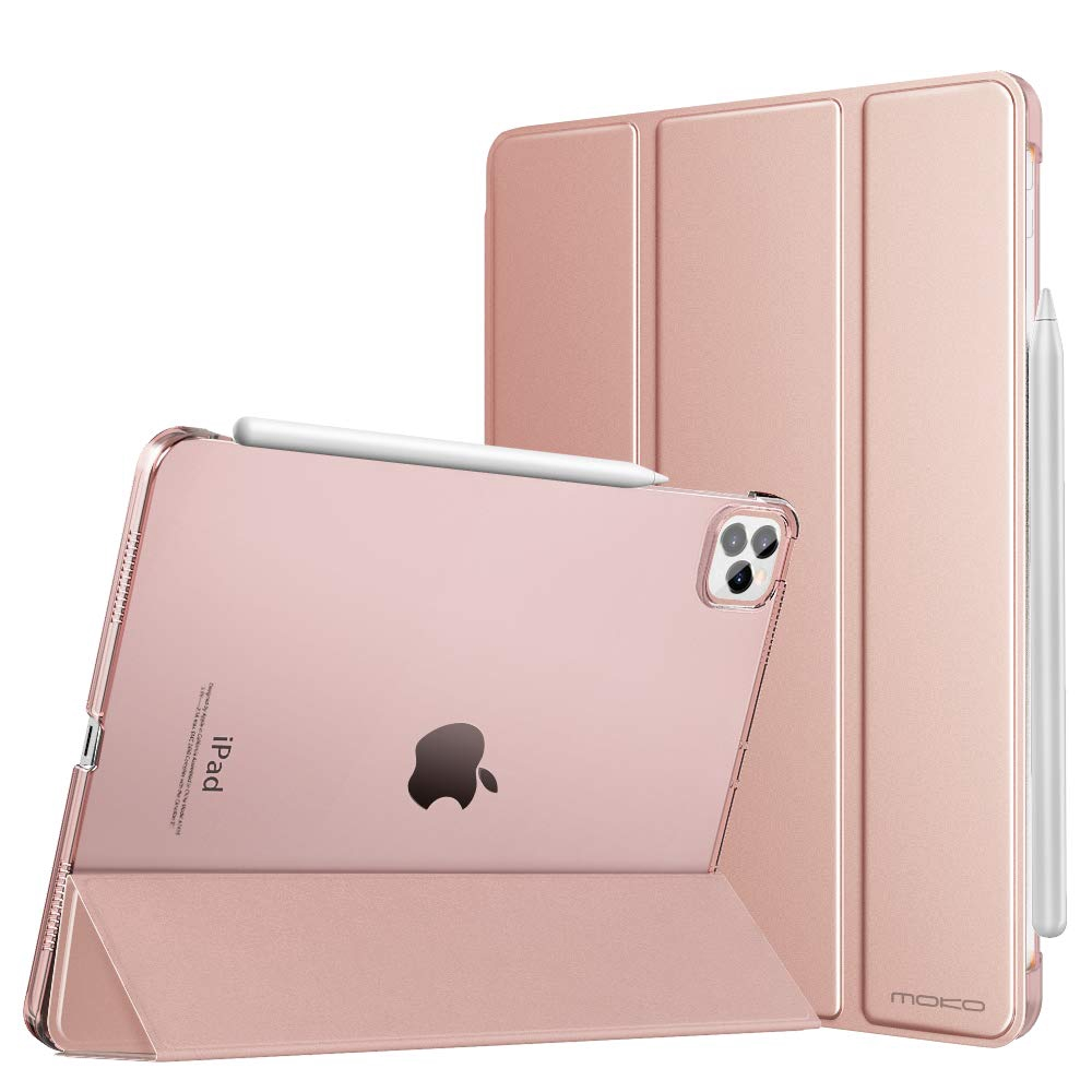 MoKo Smart Flip Case Fit iPad Pro 11 inch 2020 - Translucent Frosted Back Protector Shell Stand Cover with Apple Pencil's Magnetic Attachment Side Opening (Auto Wake/Sleep)