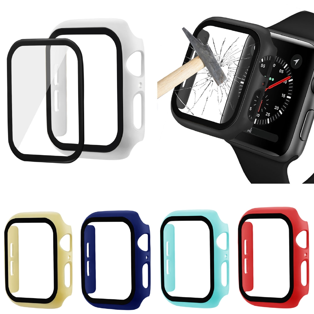 เคส Apple Watch 3D 9H Tempered Glass Screen Protector Cover For Apple Watch 44mm 42mm 40mm 38mm Case  For iWatch Series 2 3 4 5