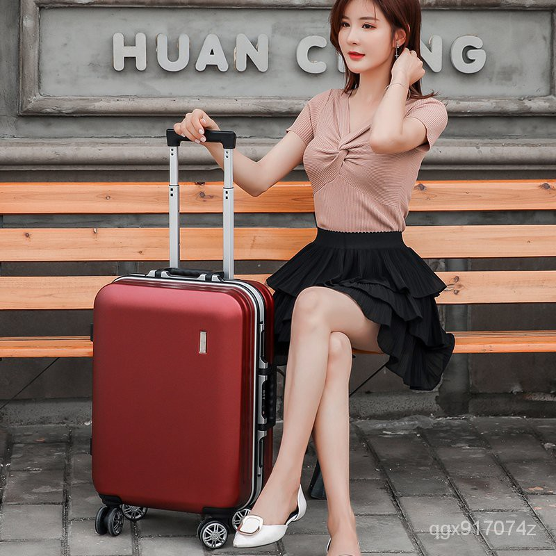 กระเป๋าเดินทาง Luggageกระเป๋าเดินทางผู้หญิงinsสุทธิสีแดงกระเป๋าลากไฟขนาดเล็กเดินทางล้อสากลชาย20นิ้ว22กรอบอลูมิเนียม24กระ