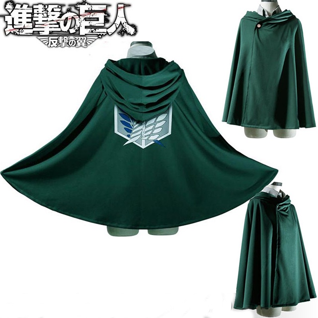Anime Attack on Titan Unisex Cosplay Costume Green Cloak Scouting Legion Hooded Jacke Game Party Clothes