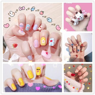 Nail Sticker Rainbow Bear Strawberry Wave Dot Fruit Wave 14 Tips Student Bride Lazy Waterproof Nail Stick