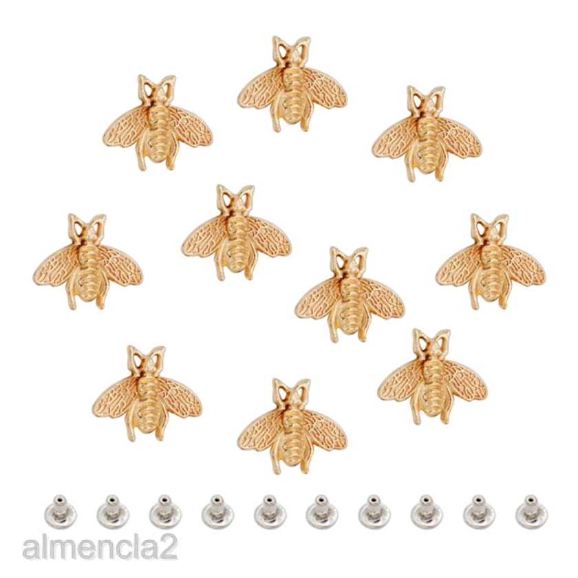 10 Pcs Leather Craft Repair Supplies Golden Bee Patterns Studs Accessories