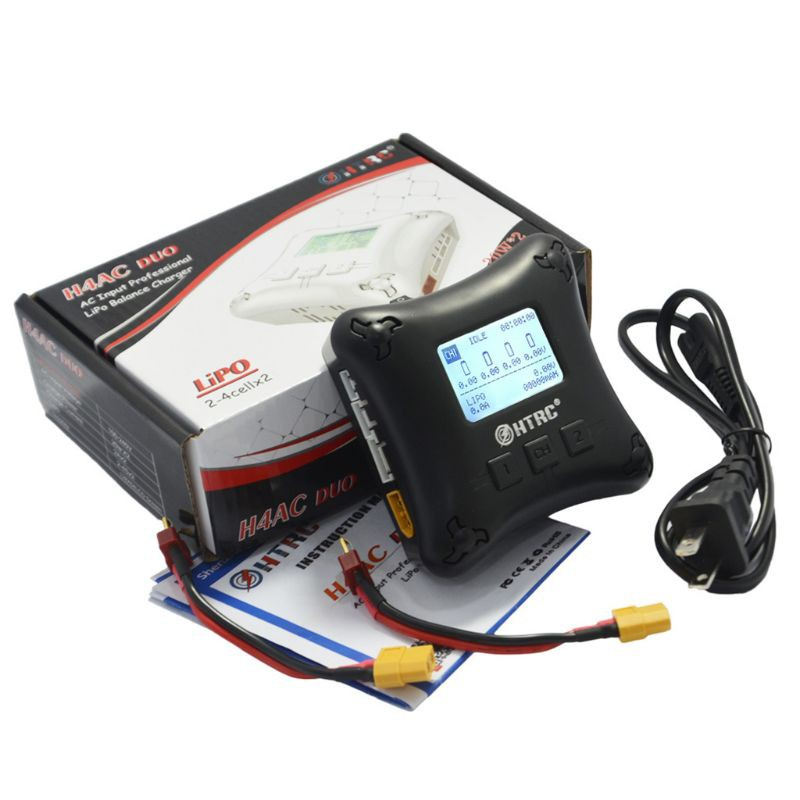 LiPo Balance Charger Duo Mini RC Charger Dual Port 2A x2 H4AC for 2S 3S 4S LiPo Batteries