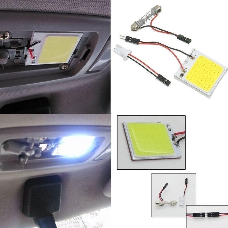 ❄﹍♕ไฟ เพดาน รถยนต์ กลาง เก๋ง ส่อง สัมภาระ หลอดไฟ 48 SMD COB LED T 10 4 W 12V จำนวน 1แผง แท้ 100 % (สีขาว) สำหรับติดภาย
